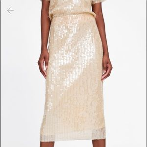 Zara sequin skirt champagne color size small